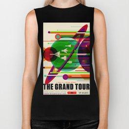 NASA Outer Space Saturn Shuttle Retro Poster Futuristic Explorer Biker Tank