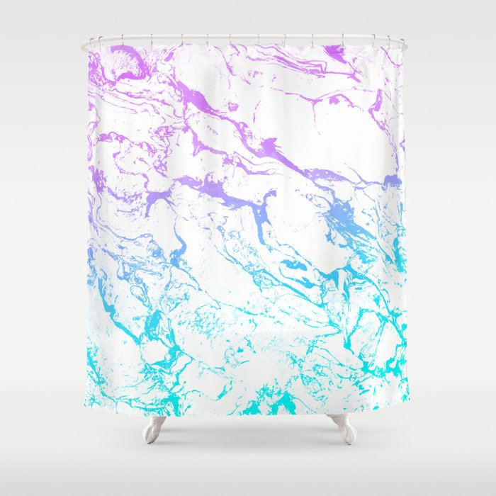 White Marble Purple Blue Turquoise Ombre Watercolor Mermaid Pattern Shower  Curtain