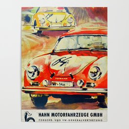 Vintage German 1964 Race Poster Poster