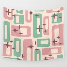 Retro Mid Century Modern Abstract Pattern 222 Dusty Rose and Pastel Green Wall Tapestry