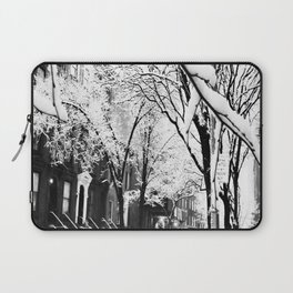 Black and White Photo of the Beautiful Brooklyn Heights covered in icy snow Laptop Sleeve