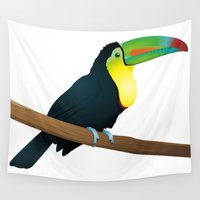 toucan Wall Tapestries featuring Toucan by Li-Bro