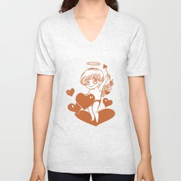 Valentine Cupid with Hearts Unisex V-Neck