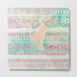 Whimsical Cat, Pink Turquoise Girly Aztec Pattern Metal Print