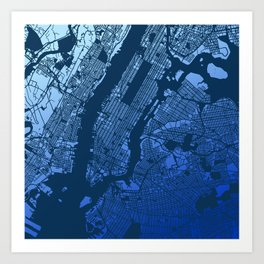 New York City Manhattan Two Tone Map Art Print