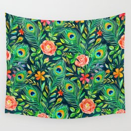 Peacock Feather Posies on dark Wall Tapestry