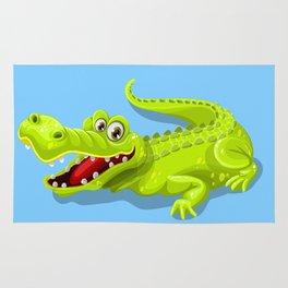 Friendly and funny crocodile cartoon Rug