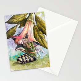 Fairy hiding under angel trumpet Stationery Cards