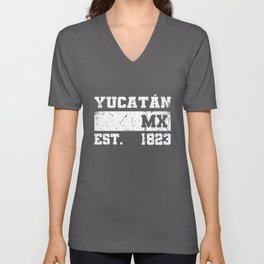 Yucatan Mexico Est. - 1823 Vintage Retro Distressed Unisex V-Neck