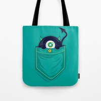pocket Tote Bags featuring Pocket Monster by Steven Toang