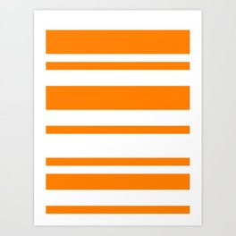 Mixed Horizontal Stripes - White and Orange Art Print