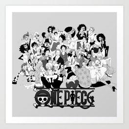 OnePiece Characters blackwhite Art Print