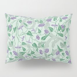 Purple morning glory with ornaments on light green background Pillow Sham