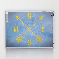 Blue Compass Map - Forest Trees North East West South Compass Adventure Blue and Gold Laptop & iPad Skin