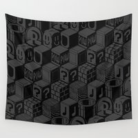 super mario Wall Tapestries featuring SUPER MARIO BLOCK-OUT! by Jango Snow