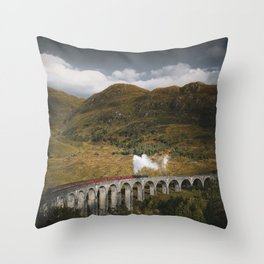 Train on a Glenfinnan Viaduct, Scotland Throw Pillow