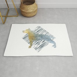 Modern American Staffordshire Terrier Dog Watercolor Stripes Rug