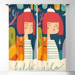 Girl with Cat Blackout Curtain