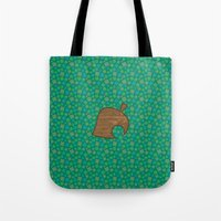 animal crossing Tote Bags featuring Animal Crossing Summer Grass by Rebekhaart