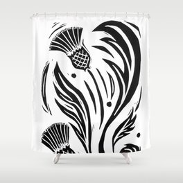 Thistle - Black and White Shower Curtain