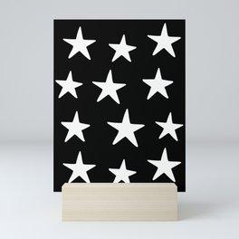 Star Pattern White On Black Mini Art Print