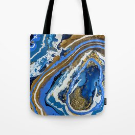 Blue Gold Geode Tote Bag