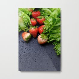 Strawberry with lettuce on wet table Metal Print