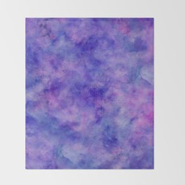 Purple Pink and Blue Bright Marble Watercolor Texture Throw Blanket