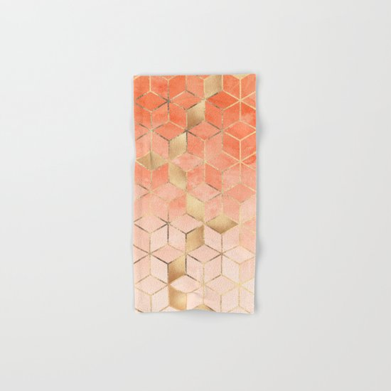 Soft Peach Gradient Cubes Hand & Bath Towel