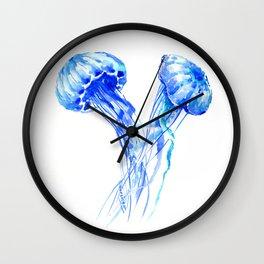JellyFish, Blue Aquatic Artwork Wall Clock