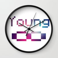 forever young Wall Clocks featuring Young Forever by Tchea-ster