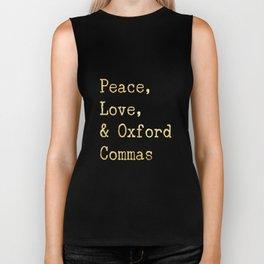 Peace, Love, & Oxford Commas Gold Biker Tank