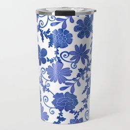 Floral China Blue Watercolor Pattern Travel Mug