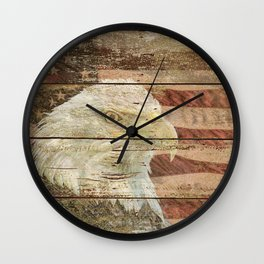 Rustic Bald Eagle Bird American Flag Patriotic Country Art A167 Wall Clock