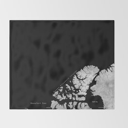Black and grey watercolor world map with cities Throw Blanket