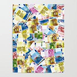 Colorful Euros Pattern - Money - LOA - Abundance - Cash Poster
