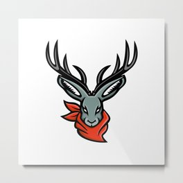 Jackalope Wearing Bandanna Mascot Metal Print