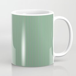 Mini Forest Green and White Rustic Vertical Pin Stripes Coffee Mug