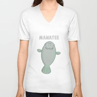 manatee V-neck T-shirts featuring Manatee by Carl Batterbee Illustration