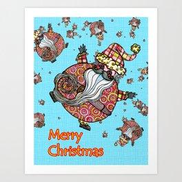 Many a Snowing Santa Art Print