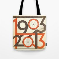 tour de france Tote Bags featuring 100 Years of The Tour de France by Dushan Milic