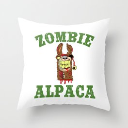 Alpaca Shirt Typography With An Image Of Alpaca Saying Zombie ALpaca T-shirt Design Scary Blood Throw Pillow
