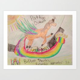 Patton Oswalt Balboa Theatre Rainbow Unicorn Poster Art Print