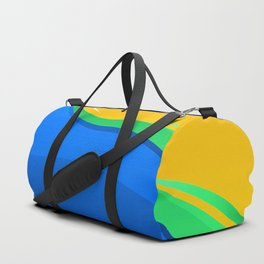 Shades of Blue, Green and Gold Curved Waves Duffle Bag