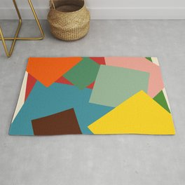 Colorful Minimalist Abstract Art Squares Rug
