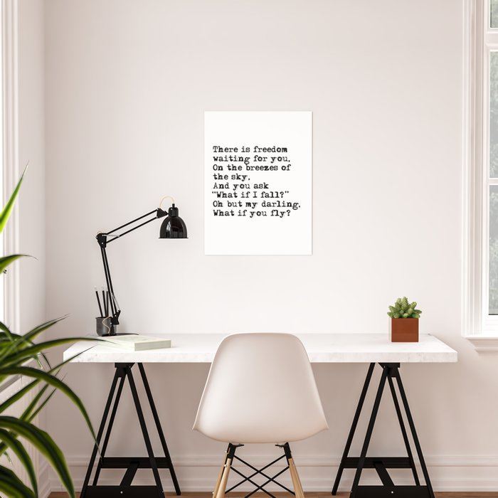41cdfc60847 What if you fly  Vintage typewritten Poster by quoteme