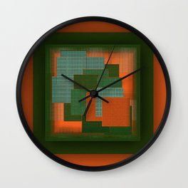 Orange Color Geometry Wall Clock
