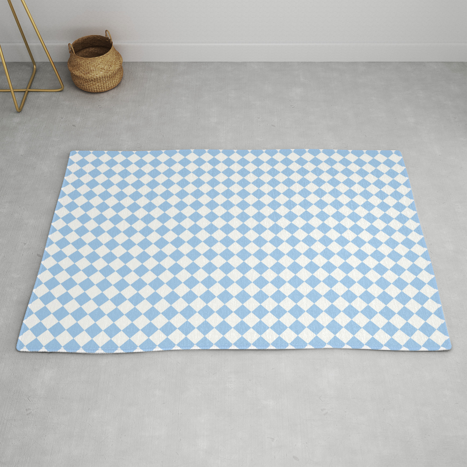 Picture of: White And Baby Blue Diamonds Rug By Colorfulpatterns Society6