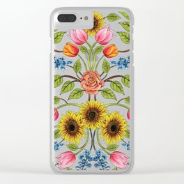 Spring Flowers Pattern - Sunflowers, Tulips, Roses & Delphinium Clear iPhone Case