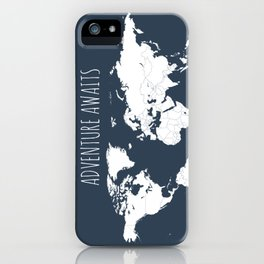 Adventure Awaits World Map in Navy Blue iPhone Case